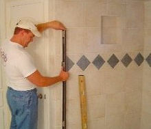 measuring the bathroom wall